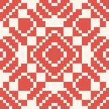 Vector geometric traditional folk ornament. Red and white seamless pattern. Vector geometric traditional folk ornament. Ethnic tribal seamless pattern vector illustration
