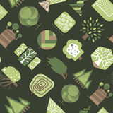 Vector geometric tree wood forest eco graphic seamless pattern background illustration. Vector geometric tree wood design element badge modern forest nature Stock Photos