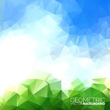 Vector geometric triangles background. Abstract polygonal sky design Stock Image