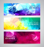 Vector geometric triangles banner background set. Abstract polygonal design Stock Photography