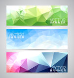 Vector geometric triangles banner background set. Stock Photo