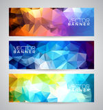 Vector geometric triangles banner background set. Stock Images