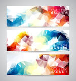 Vector geometric triangles banner background set. Royalty Free Stock Photo