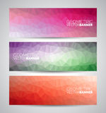 Vector geometric triangles banner background set Stock Photography