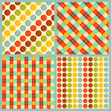 4 vector geometrical patterns. Vector seamless patterns with squares and circles Stock Photo