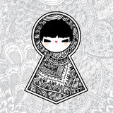 Vector Geometrisch Leuk Doll van Babushka Matryoshka Stock Afbeelding