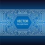 Vector geometrisch lineair stijlkader - art decogrens voor tekst Het ontwerp van de Sketchbookdekking Stock Foto