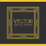 Vector geometrisch lineair stijlkader - de decoratie van de art decotekst monogram Royalty-vrije Stock Foto