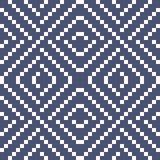 Vector geometrisch traditioneel volksornament Blauw en wit naadloos patroon stock illustratie