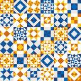 Vector geometrische ceramische die textuur van blauwe stukken wordt gemaakt Royalty-vrije Stock Foto's