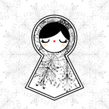 Vector Geometrische Leuke Doll van Babushka Matryoshka Achtergrond Stock Foto's