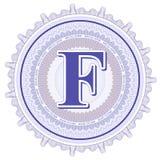 Vector geometrische ornamenten Guilloche Rozetten met brief F Stock Foto