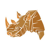 Vector geometrische stijl van het rinoceros de hoofdprofiel Stock Afbeeldingen