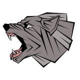 Vector geometrische stijl van het wolfs de hoofdprofiel Stock Afbeelding