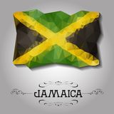 Vector geometrische veelhoekige Jamaïca-vlag Royalty-vrije Stock Afbeeldingen