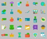 Vector geplaatste bankwezenpictogrammen - betaal en ontvang geld Royalty-vrije Stock Afbeeldingen