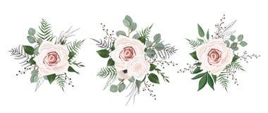 Vector geplaatste bloemen Kleurrijke bloemeninzameling met bladeren en bloemen vector illustratie