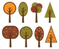 Vector geplaatste bomen Stock Foto's