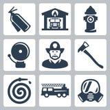 Vector geplaatste brandweerkazernepictogrammen Stock Foto's