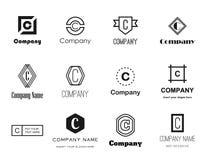 Vector geplaatste brievenc emblemen Stock Afbeelding