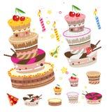 Vector geplaatste cakes Stock Foto's