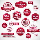 Vector geplaatste de banneretiketten van de prijsaanbieding Stock Foto's
