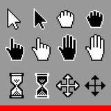 Vector geplaatste de curseurpictogrammen van de pixelcomputer Pijl, wijzer, palm, belemmering, beweging, zandloper, handcurseur vector illustratie