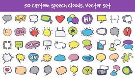 Vector geplaatste de wolkenpictogrammen van de krabbeltoespraak royalty-vrije illustratie