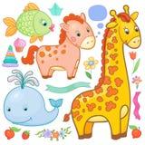 Vector geplaatste dieren Stock Foto's