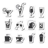 Vector geplaatste drankenpictogrammen Royalty-vrije Stock Foto