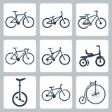 Vector geplaatste fietsenpictogrammen Stock Afbeeldingen