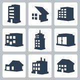 Vector geplaatste gebouwenpictogrammen Stock Foto