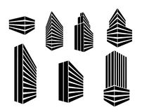 Vector geplaatste gebouwenpictogrammen Stock Foto's
