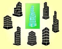 Vector geplaatste gebouwenpictogrammen Stock Fotografie