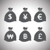 Vector geplaatste geldzakken Stock Afbeelding