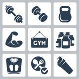 Vector/geplaatste geschiktheidspictogrammen die bodybuilding Royalty-vrije Stock Fotografie