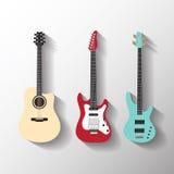 Vector geplaatste gitaren Stock Foto