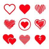 Vector geplaatste harten Royalty-vrije Stock Afbeeldingen