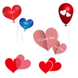 Vector geplaatste harten, de Rode document dag van hartenvalentijnskaarten, Vectorballoo Royalty-vrije Stock Foto