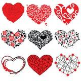 Vector geplaatste harten Geïsoleerd beeld Harten De dag van de valentijnskaart `s stock afbeelding