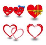 Vector geplaatste harten, valentijnskaart, het hart van de Paarliefde, Hartca Royalty-vrije Stock Afbeelding