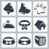 Vector geplaatste huisdierenpictogrammen Stock Foto's
