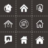 Vector geplaatste huispictogrammen Stock Foto