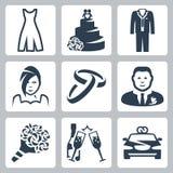 Vector geplaatste huwelijkspictogrammen Stock Afbeelding