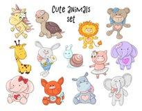 Vector geplaatste illustratie van leuke dieren stock foto's