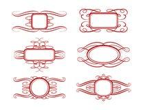 Vector geplaatste kalligrafiekaders Stock Fotografie