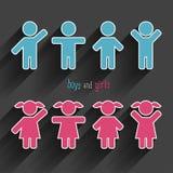 Vector geplaatste kinderenpictogrammen Stock Foto