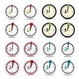Vector geplaatste klokpictogrammen royalty-vrije stock afbeelding