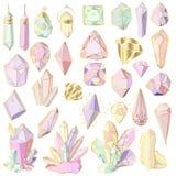 Vector Geplaatste Kristallen stock illustratie