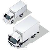 Vector geplaatste leveringsvrachtwagens Royalty-vrije Stock Afbeelding